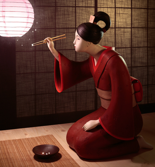 Hand Sculpted Clay Illustrations by Irma Gruenholz #sculpture #asia #design #illustration #geisha #glow #art #meal #oriental #illumination #japan #beauty