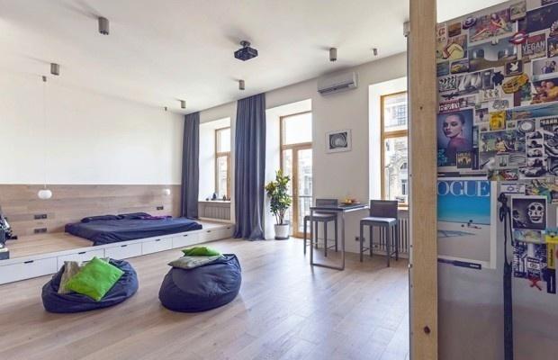 Unusual Layout Defining a 58 Sqm Open Studio Apartment in Ukraine #interior #design #space #architecture #room