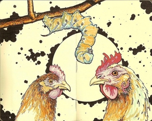 All sizes | green horn | Flickr - Photo Sharing! #ink #and #hens #moleskine #pen #inkandclay #chickens #drawing #sketch