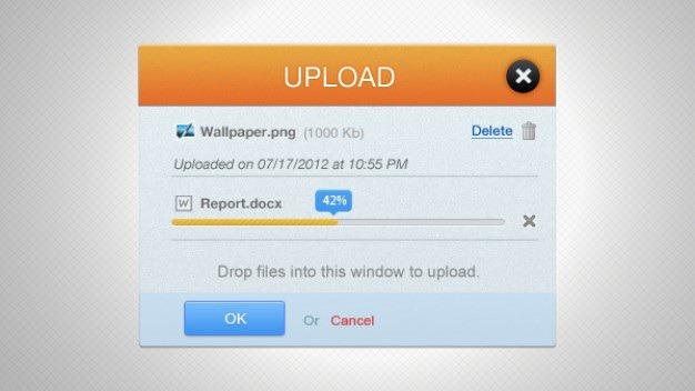 Orange upload progress bar interface Free Psd. See more inspiration related to Blue, Orange, Bar, Buttons, Psd, Progress bar, Progress, Interface, Popup, Upload and Horizontal on Freepik.