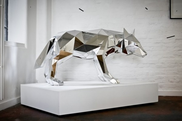 Mirrored Geometric Animals by Arran Gregory #taxidermy #sculpture #mirror #fox