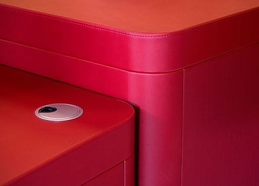 Dull Days #lines #red #curves #furniture #desk