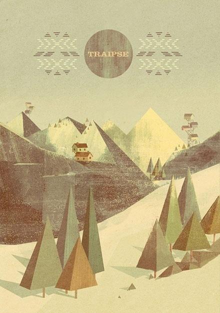 Matthew Lyons #mountain #geometrical #tree
