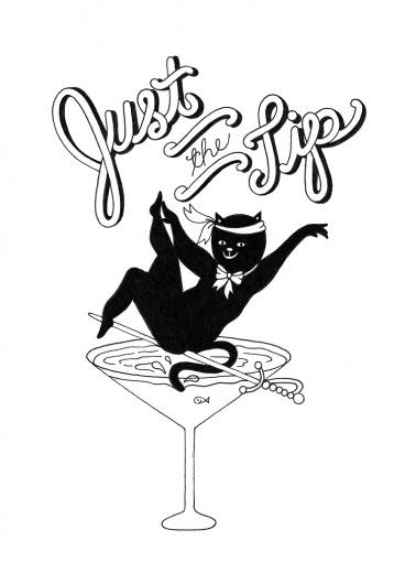 JesseHectic's Spaceship: RAMBO TAMBO #ink #white #just #cat #black #the #type #tip #drawing #martini