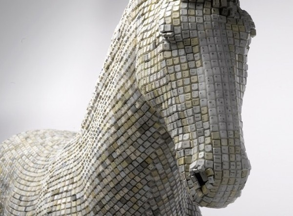 Horse Sculpture Made of Computer Keys by Babis Cloud