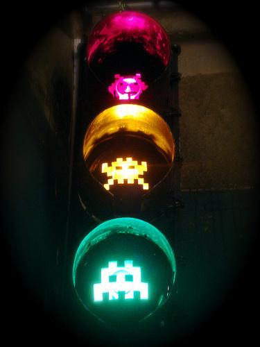 space invader pixel graffiti art on stop lights #invader #graffiti #space #pixel #stop #light