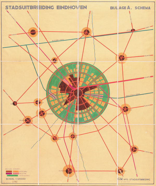 J.M. de Casseres, Eindhoven city expansion map, 1930 #old #school #graphic #vintage #poster