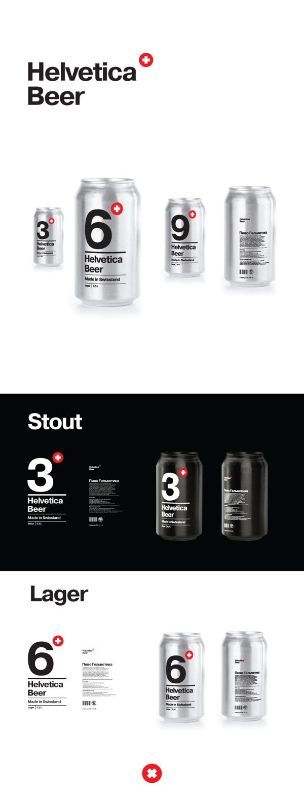 Helvetica Beer #beer #lager #packaging #helvetica #stout