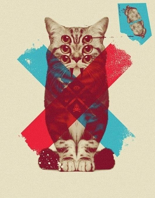 WEIRD III on the Behance Network #print #cat #vintage #art #digita