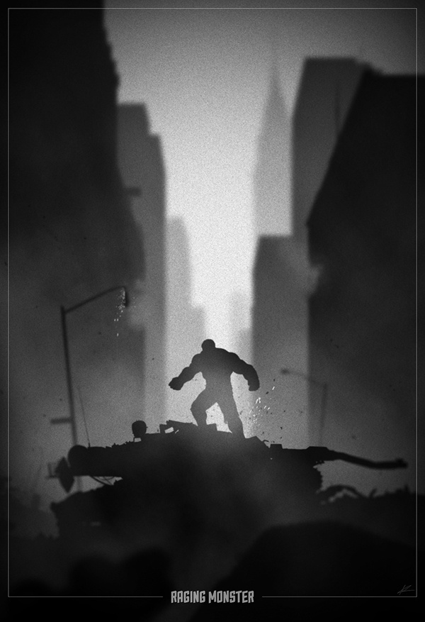 Hulk Noir poster by Marko Manev #movie #hulk #white #noir #black #poster #and