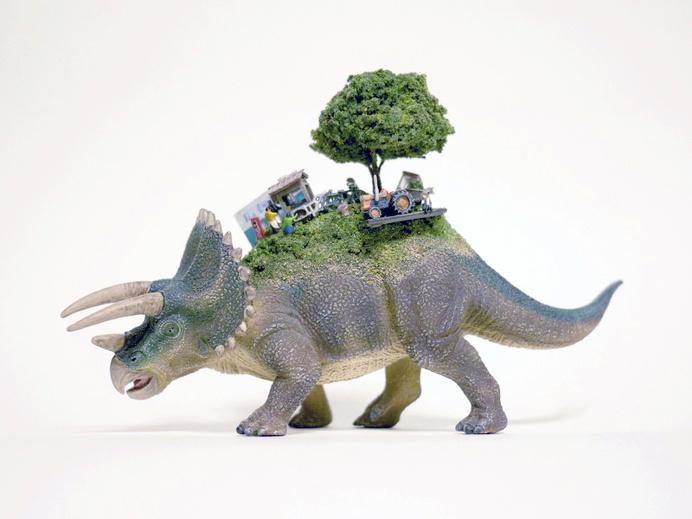 Toy Mammals and Dinosaurs Burdened with Miniature Civilizations by Maico Akiba toys sculpture miniature dioramas #burden #sculpture #triceratops #back #civilisation #dinosaur #minature