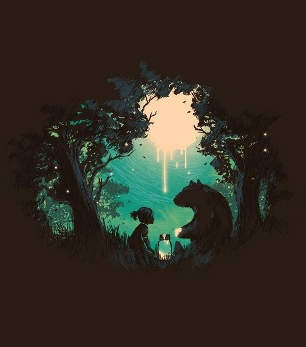 Illustrations by Budi Satria Kwan | Cuded #girl #sky #illustration #bear #trees