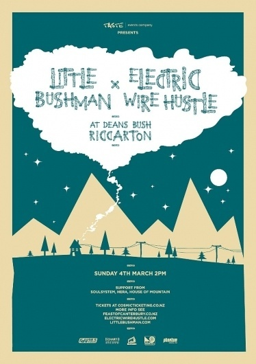 Little Bushman + Electric Wire Hustle #gig #wood #illustration #poster #type #band