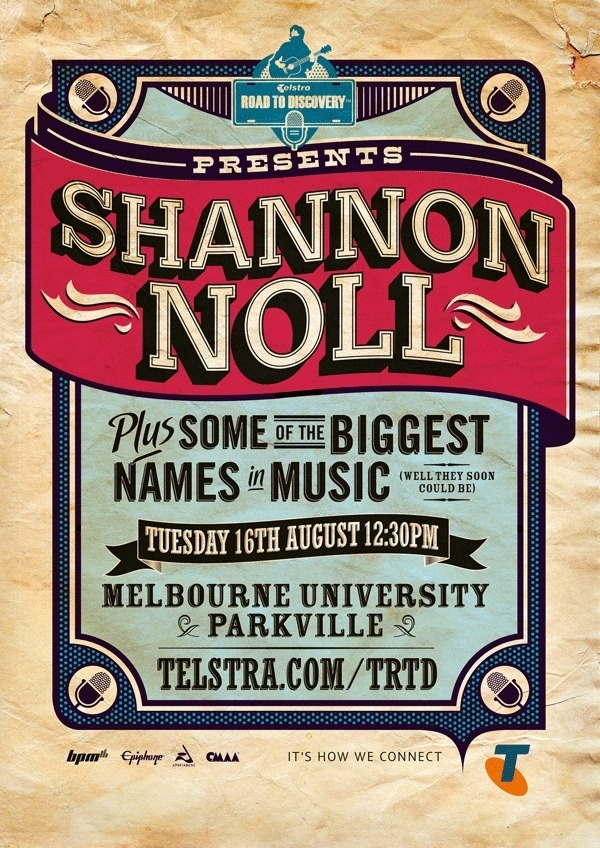 Telstra Road to Discovery #old #n #rock #school #vintage #poster #roll #type #typography