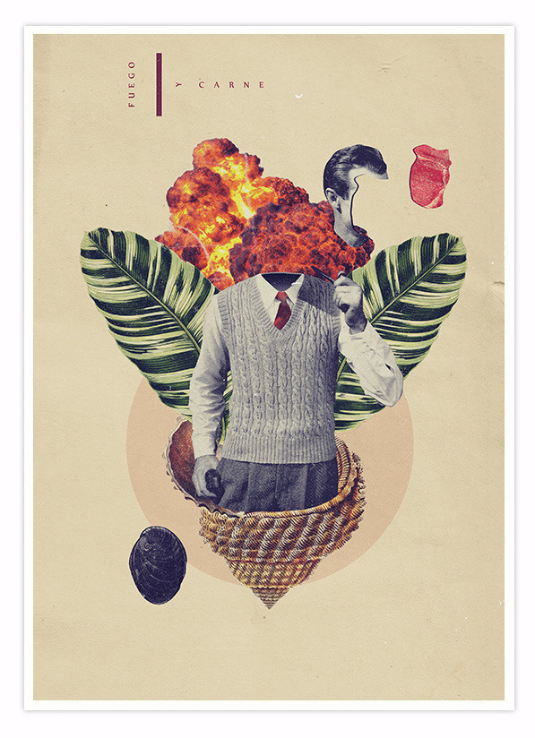 Fuego y Caballo. Collage composition mixing subtle and vibrant vintage illustrations.