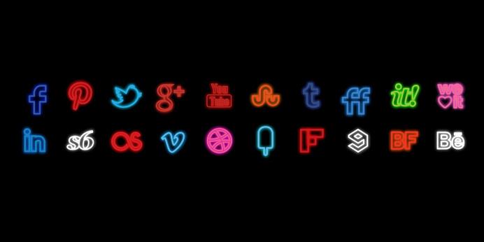 Neon Social Icons Set #neon #media #icons #social