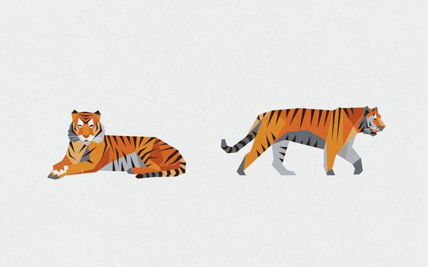 RHINO TIGER BEAR Jimmy Gleeson Design #illustration #geometric