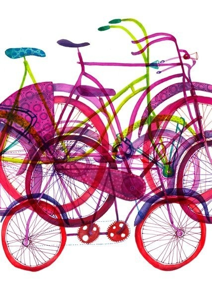 Biciclete | atelieruldeprint.ro #bicycle #illustration #color #bike