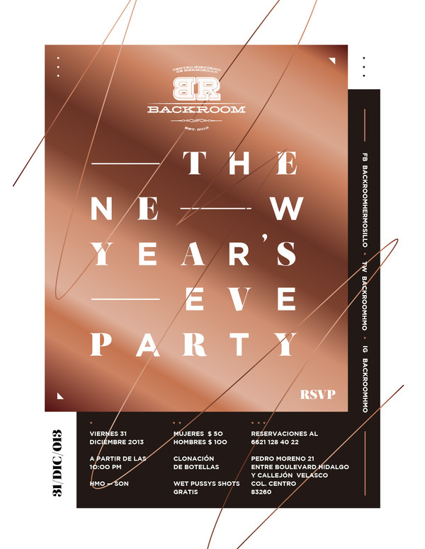 The new year's eve party #white #year #new #mexico #flyer #black #mxico #poster #cooper #party