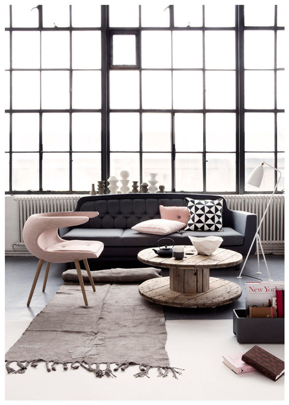 Light Pink | Dark Grey Inspiration @ Nordic Design #interior #rug #furniture #sofa