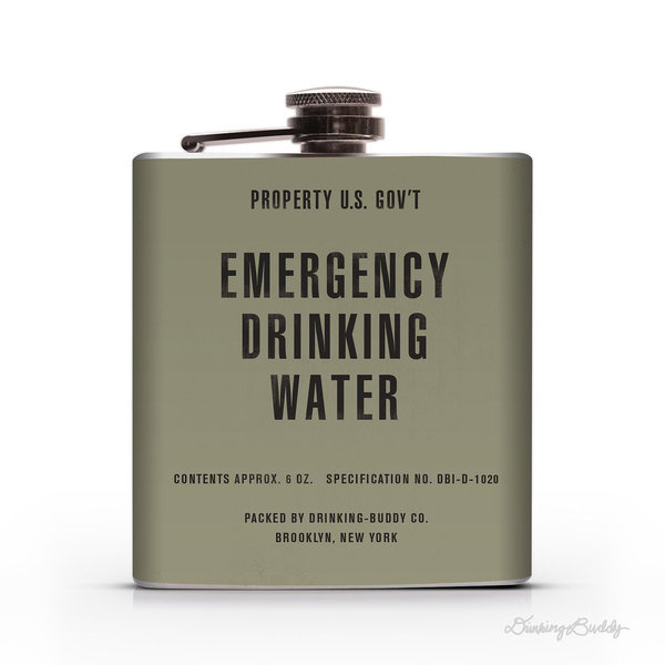 Vintage Emergency Drinking Water Property of U.S. Gov't 6oz Whiskey Hip Flask #army #water #emergency #drinking #government #flask #war #korean #vintage #us