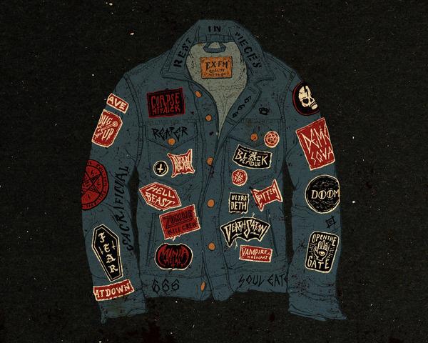 Various Work Jon Contino, Alphastructaesthetitologist #jacket #contino #jon #illustration #vintage #patches #jeans