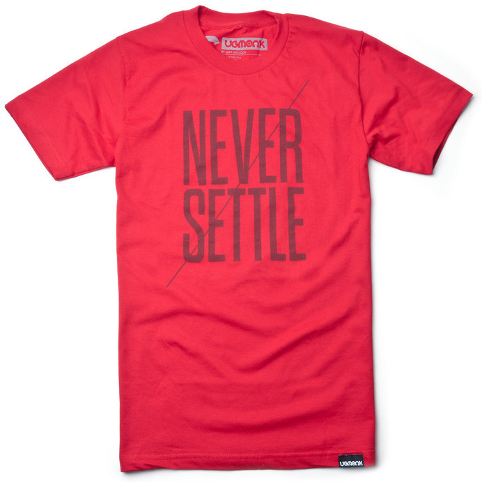 NEVER SETTLE (RED) #settle #clothing #red #apparel #tshirt #telegraph #minimal #fashion #never #typography