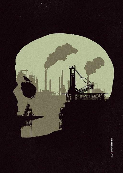 Life Sucks #negative #space #petrol #poster #ravin #skull #oil