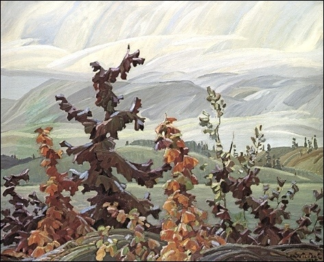 Franklin Carmichael Scrub Oaks and Maple #group #of #paining #autumn #seven
