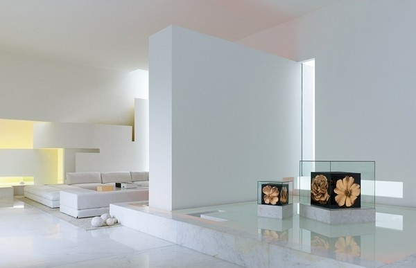 White living area in residence #interior #architecture #residence #futuristic