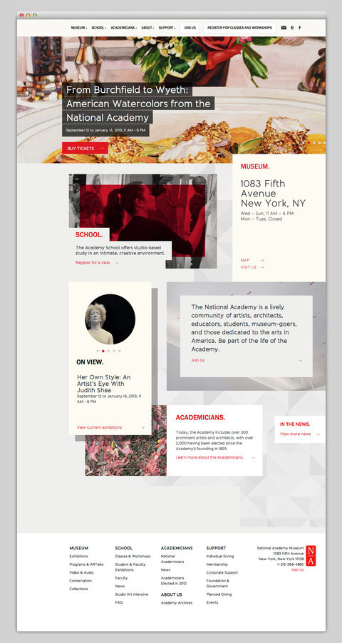 National Academy Museum #museum #design #website #grid #layout #web