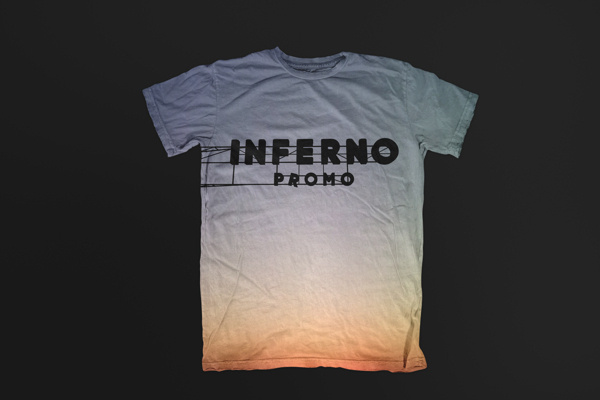 Inferno Identity on Behance #branding #apparel #merch #sunrise #gradient #hotel #lettering #sky #color #shirt #identity #stationery #logo #shadow #mockup #tshirt #envelope #personal #typography #sign #card #black