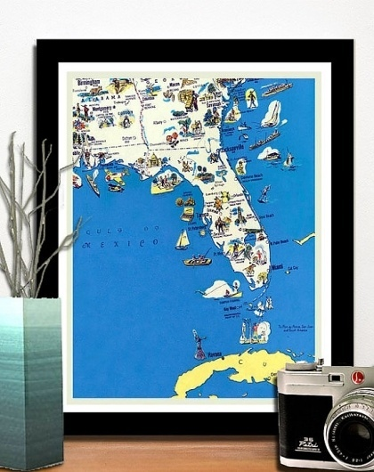 Best vintage florida funny map retro images on designspiration vintage florida retro funny map 10 x 12 by ancientshades on etsy old maps gumiabroncs Images