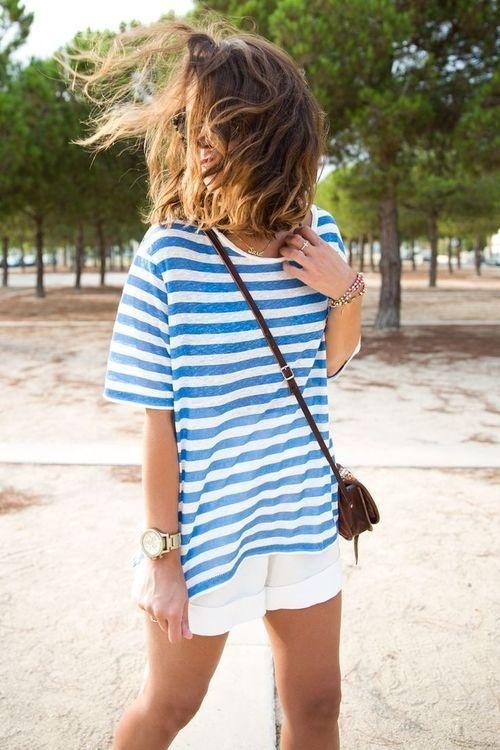 Likes | Tumblr #white #stripes #girls #fashion #blue