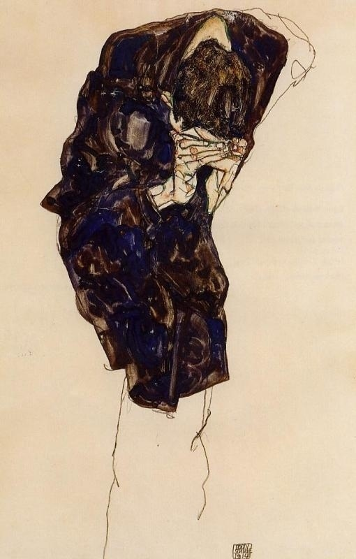 Egon Schiele - Man Bending Down Deeply .JPG (imagen JPEG, 510 × 800 píxeles) #egon #illustration #schiele #painting