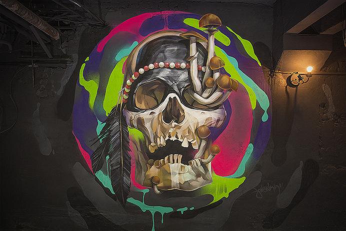 brain mash studio #illustration #wall #spray