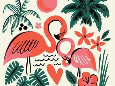 Flamingos, Brad Woodard #illustration #palm #tree #flamingo