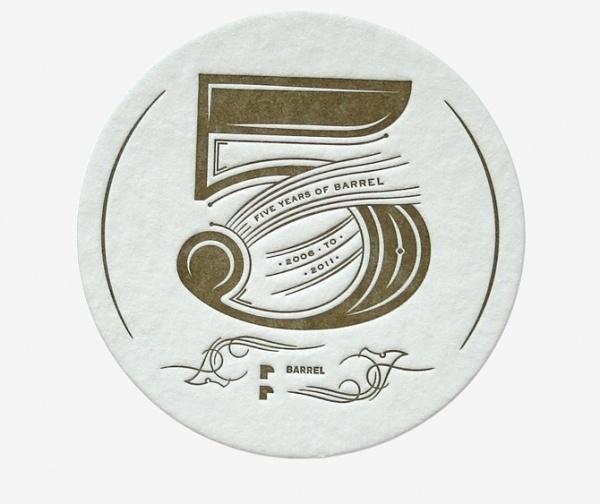 Barrel 5 Year - Andrea Horne #lettering #logo #barrel #coaster #typography