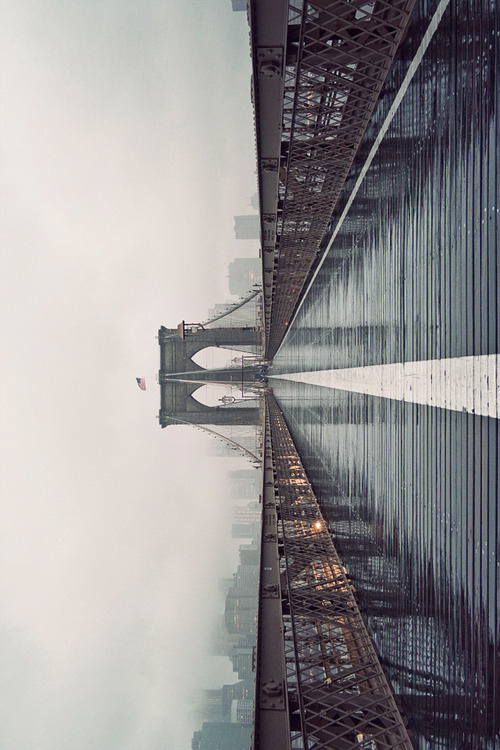 CJWHO ™ (Brooklyn Bridge in Fog, 2012 by James...) #fog #wet #design #landscape #photography #architecture #art #york #bridge #brooklyn #new