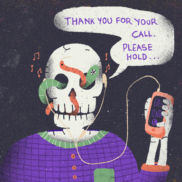 #illustration #call-center #call #mobile #skull #worms