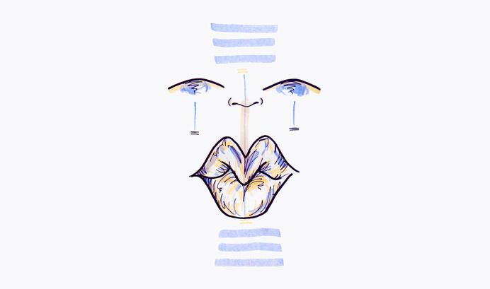 #17 / balanced / 010414 by Chiamaka Ojechi #illustration #pastel #lips #markers #minimal #lilac