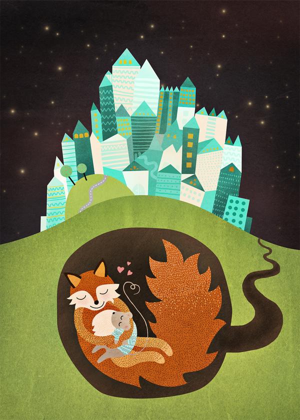 Michelle Carlslund The Fox & the Mouse Illustration #hug #fox #underground #mouse #houses #city #danish #night #tunnel #stars #vintage #hearts #cute #children #love #kids