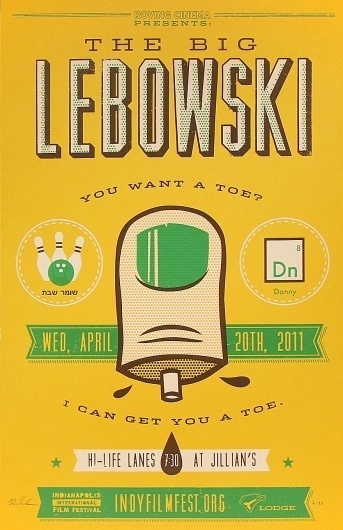 The Big Lebowski « RONLEWHORN #print #design #gig #screen #illustration #art #poster #typography