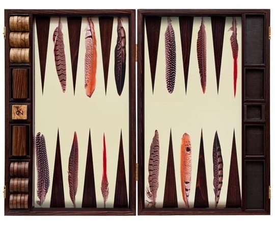 The Most Glam Games: Indoor Edition | Apartment Therapy #backgammon #feathers #wood #birds #game