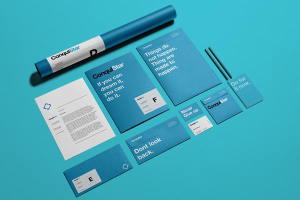 ConquiStar on Behance #swiss #business #branding #stationary #helvetica #letterhead #cards #folder