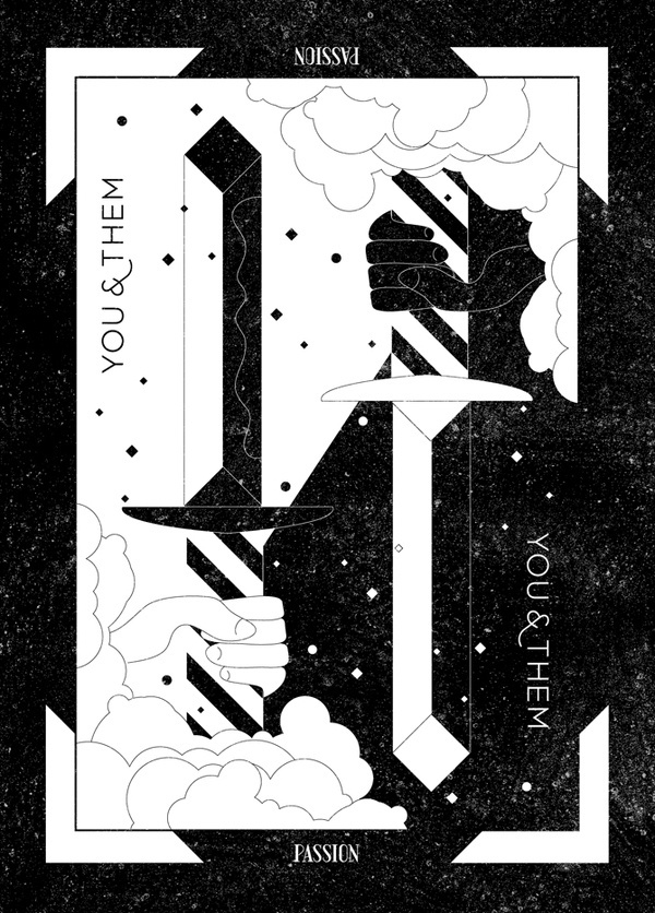 You & Them Tarot Card #blackwhite #design #black #identity #tarot