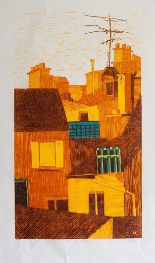 n.wise #woodcut #architecture #landscape