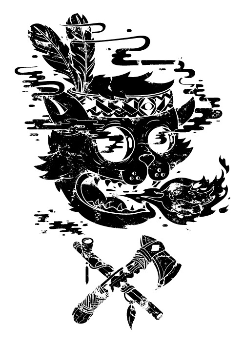 The Hangover Book on Behance #black #white #graphic #cat #hippie #axe #pipe