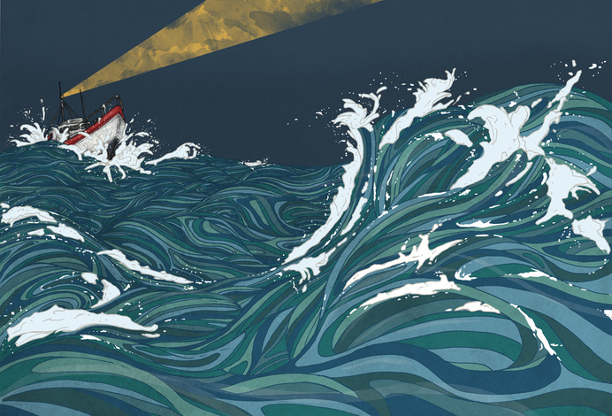 Darius Alexander Illustration #search #illustration #sea #boat #light