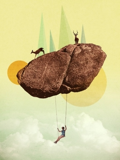 All sizes | arthref.com | Julien Pacaud | Flickr - Photo Sharing! #sky #deers #design #retro #swing #surreal #collage